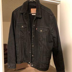 Levi's premium black denim Sherpa trucker jacket